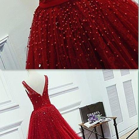 A-Line Beading Prom Dress,Long Prom Dresses,Charming Prom Dresses,Evening Dress Prom Gowns,Red Formal Women Dress,prom dress