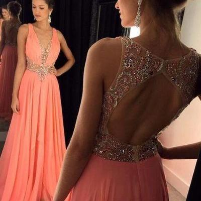 Open Back Prom Dresses New Fashion Backless Sparkle Prom Dress Chiffon Sparkly Evening Gowns For Teens
