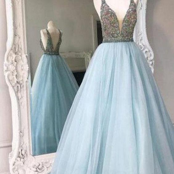 2017 New Fashion Ball Gown Spaghetti Straps Prom Dress Beaded Tulle Evening Dress Formal Dress Light Sky Blue Sweet 16 Gowns