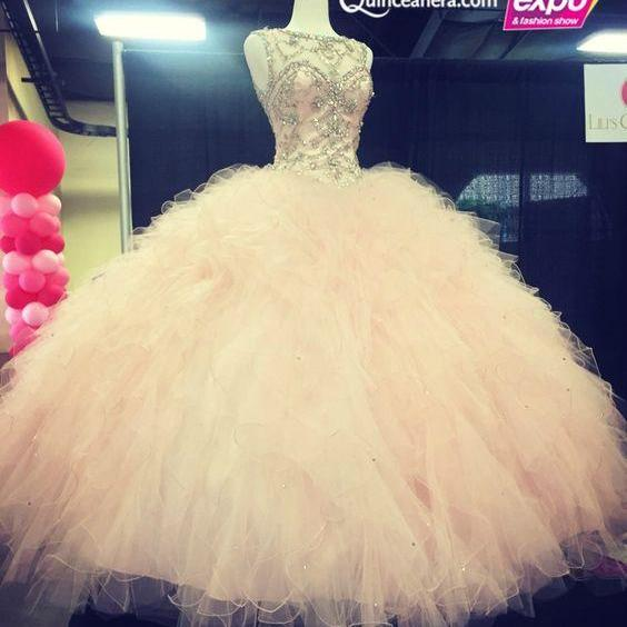 Sexy Light Pink Quinceanera Dresses Princesses Beading Glitter Formal Prom Gowns Party Dress Sweet 16 Gowns