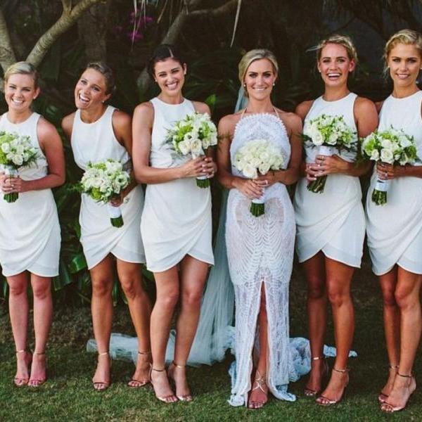 Tight bridesmaid dresses, short bridesmaid dresses, mermaid bridesmaid dresses, cute bridesmaid dresses, white bridesmaid dresses, 17111