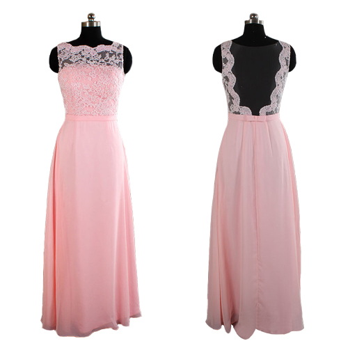 pink bridesmaid dresses, long bridesmaid dresses, lace bridesmaid dresses, backless bridesmaid dresses, sexy bridesmaid dresses, 17075