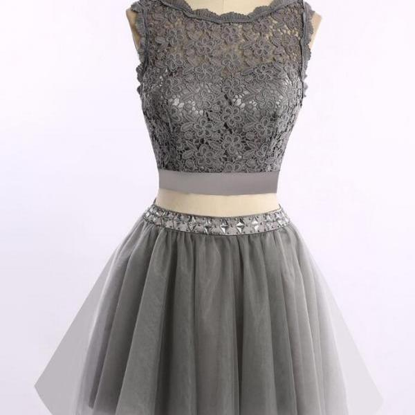 2 Pieces Homecoming dresses, Grey homecoming dress, lace homecoming dress, Gray homecoming dress, dresses for homecoming, 17614