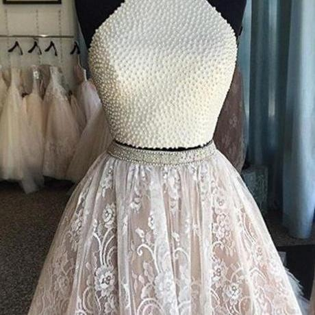 Sexy Halter Homecoming dresses, Two pieces prom dresses, Lace homecoming dress, cute homecoming dresses, dresses for homecoming, 17615