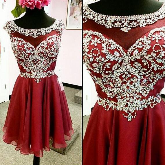 Beaded Red Homecoming dresses, 2017 homecoming dress, short homecoming dress, cheap homecoming dress, dresses for homecoming, 18619