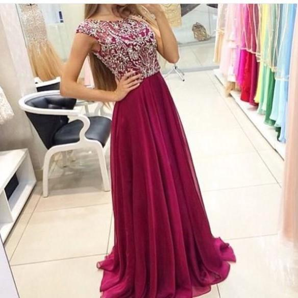 New Burgundy Prom Dresses Modest Evening Dress With Sparkle Cap Sleeves Beads Long Chiffon Formal Gown For Senoir Teens