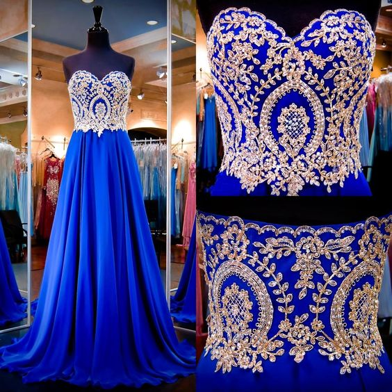 Royal Blue Prom Dresses Sweetheart Neck Appliqued Beaded Chiffon A Line Long Prom Gowns With Sweep Train Prom Dress