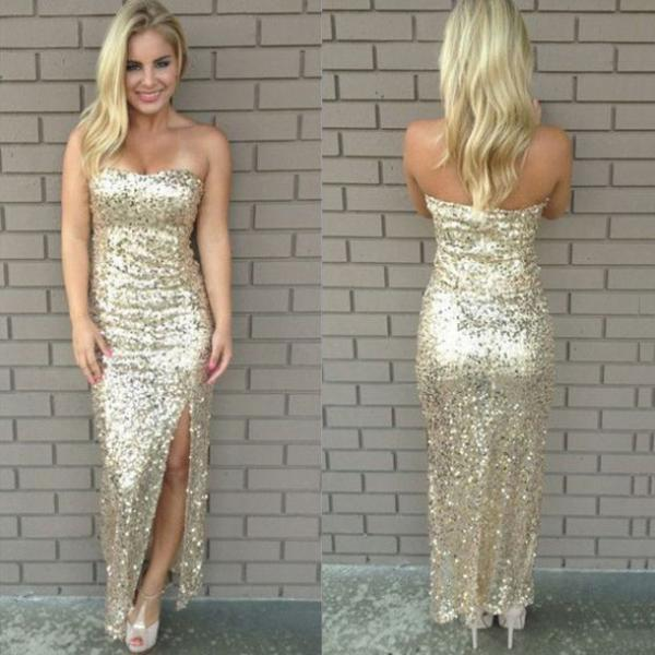 Sparkly Strapless Mermaid Long Prom Dress with Side Slit