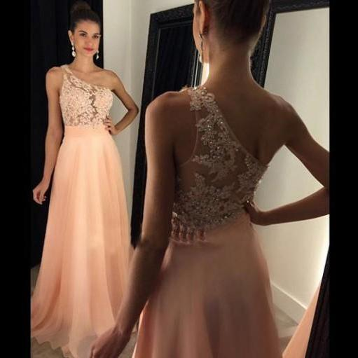 Elegant One-shoulder Long Peach Prom Dress Evening Dress