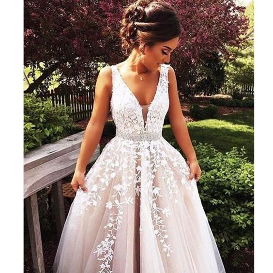 Gorgeous A-line Long Wedding Dress Prom Dress