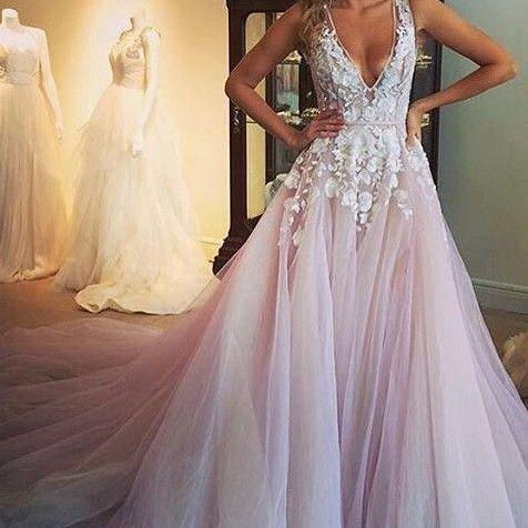 Gorgeous A-line Long Prom Dress Evening Dress with White Appliques