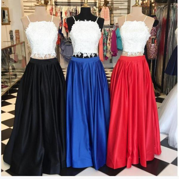 Two Piece Long Red/Royal Blue/Black Prom Dress with White Lace Top