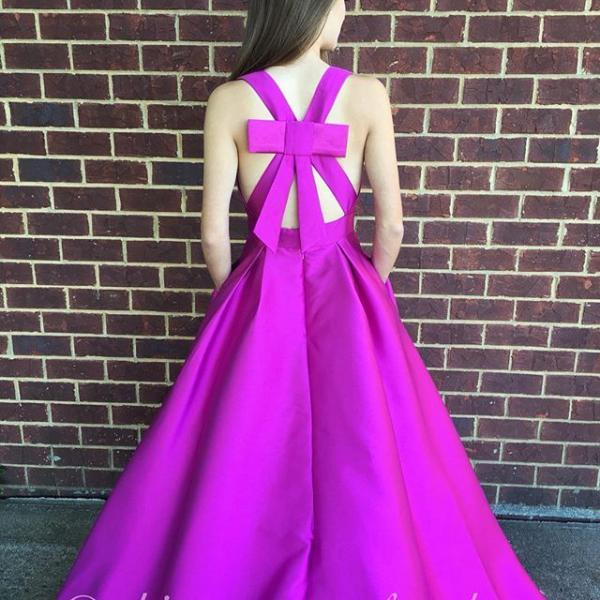 Cute A-line V Neck Satin Hot Pink Long Prom Dress with Ribbon