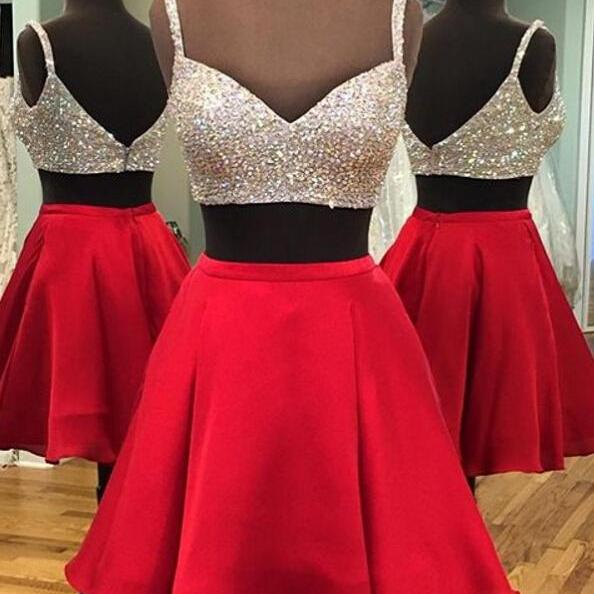 Two Piece Short Red Homecoming Dress with Sparkly Top