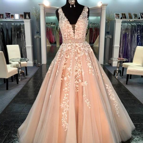 Gorgeous V-neck Long Prom Dress with White Lace Appliques