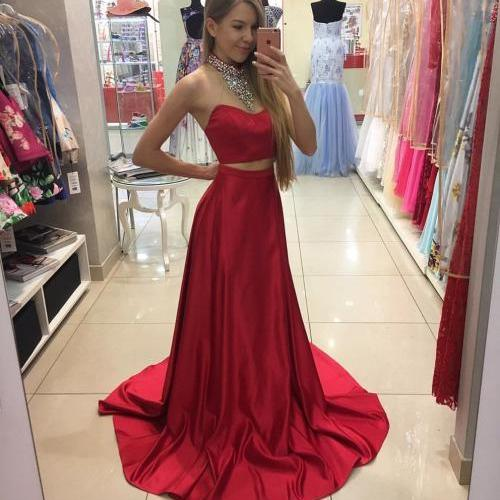 Simple Two Piece Red Long Prom Dress Evening Dress