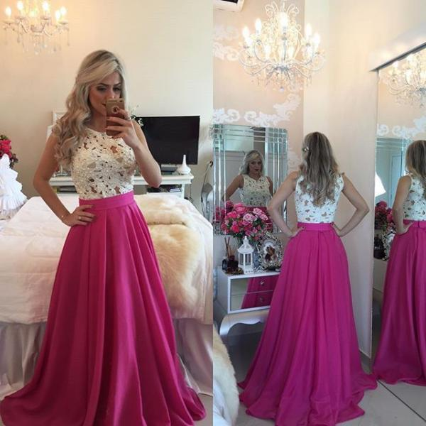 Hot Selling A-line Long Rose Pink Prom Dress with White Lace