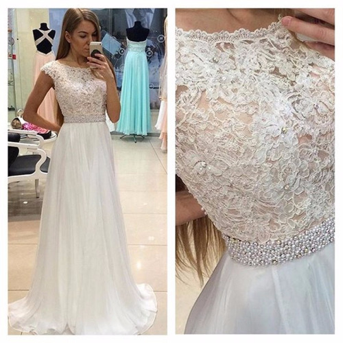 Elegant A-line White Long Lace Prom Dress Evening Dress