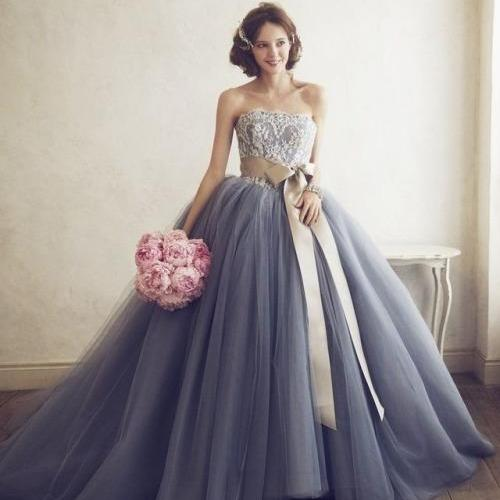 Gorgeous Strapless Long Grey Prom Dress Wedding Dress with Ribbon