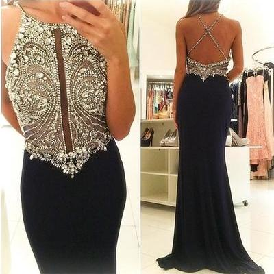 Luxurious Mermaid Long Black Prom Dress with Open Back