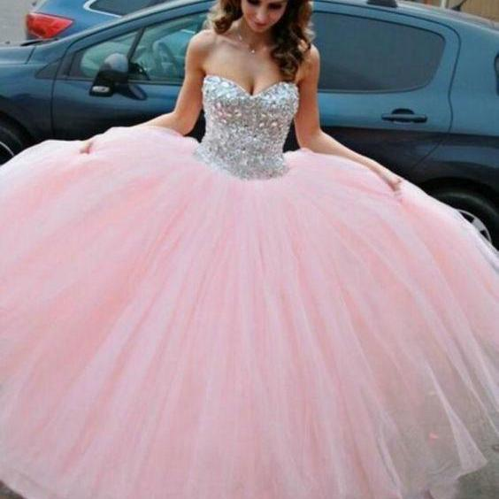 Sparkly Sequins Long Prom Dress, Pink Prom Dress Quinceanera Dresses