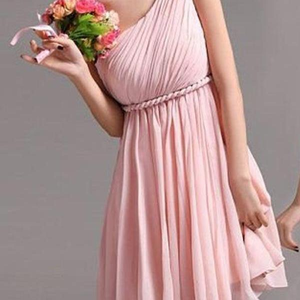 Cheap A line One Shoulder Sleeveless Knee Length Pink Mint Bridesmaid Gown