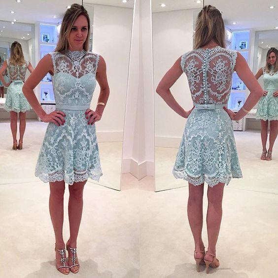 Cute A-line Sky Blue Lace Short Homecoming Dress Party Dress