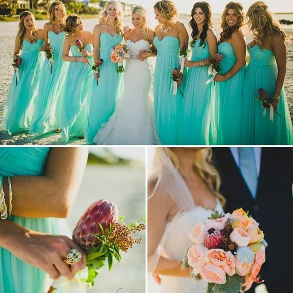 Romantic Beach Bridesmaid Dresses Sweetheart Blue Chiffon Summer Bridesmaid Dress