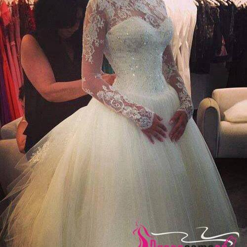 Hot Sales 2017 Long Sleeves High Neck Bodice Wedding Dress,Back V Chapel Train Lace Wedding Gown,Cheap Custom Made Bridal Wedding Ball Gown Dresses