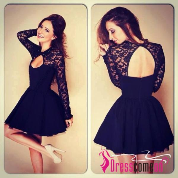 Sexy Ball Gown High Neck Long Sleeves Lace Backless Black Short Prom Dresses Homecoming Evening Dress