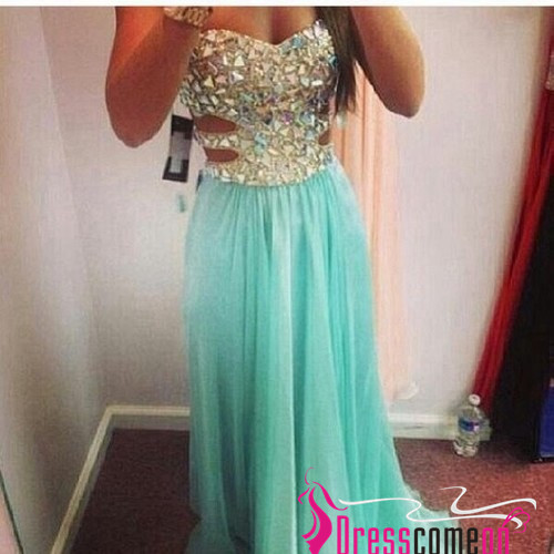 Sexy Sweetheart Sleeveless Beads Crystals Long Blue Chiffon Prom Dress/Evening Dress/Party Dress/Homecoming Dresses TR08