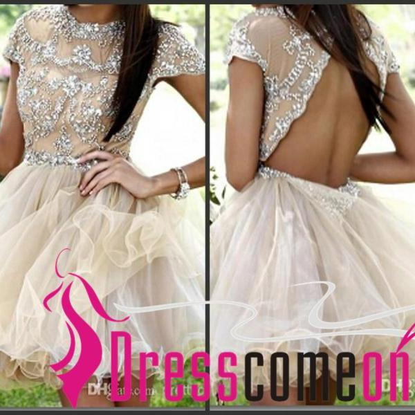 Open Back Sexy Short Mini Champagne Homecoming Dresses With Crystal Cap Sleeves Scoop New Arrival Party Cocktail Dress Gowns