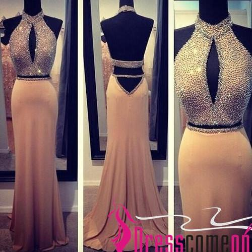 Two Pieces Prom Dress Spring 2017 New Style Open Backs High Neck Chiffon Skirt Beaded Bodice Open Backs 2 Pieces Prom Dresses