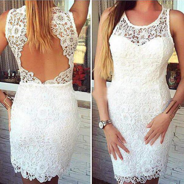 Simple White Lace Backless Mermaid Short Prom Dress Homecoming Dresses,Off the Shoulder Open Back Sheath Evening Cocktail Dress, Formal Dresses