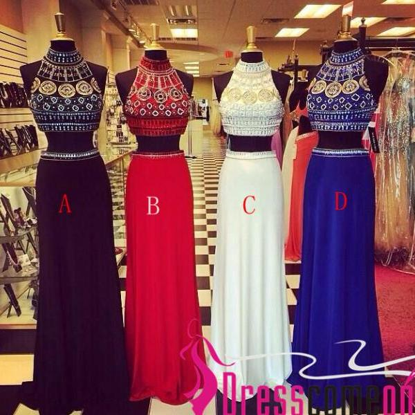 Royal Blue Chiffon 2 Pieces Long Prom Dress High Neck Mid Section Detachable Skirt White Evening Prom Dresses Party Gown