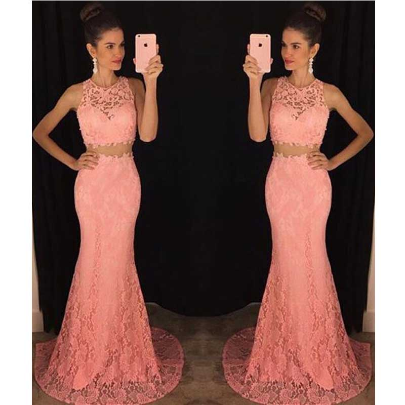 Two Piece Lace Mermaid Prom Dress