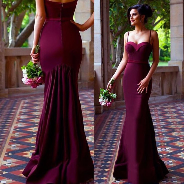 Y Spaghetti Straps Mermaid Long Maroon Prom Dress Evning Bridesmaid